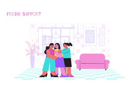 Two friends supporting sad girl flat vector illustration