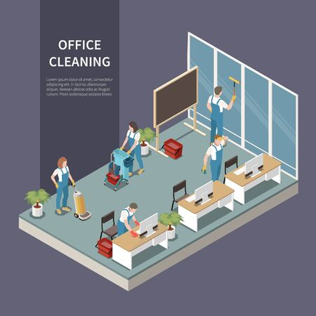 Commercial office cleaning service team at work vacuuming carpet washing windows dusting desks isometric composition vector illustration