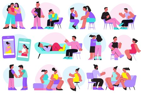 Psychological support flat icons set with people talking about their problems to friends and consulting psychologists isolated vector illustration