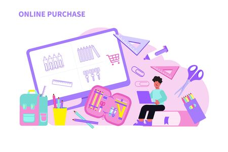Parent buying school supplies online using laptop flat vector illustration Ilustracja
