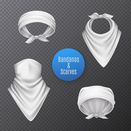 Bandana scarf buff handkerchief set of isolated realistic white head coverings on transparent background with text vector illustration