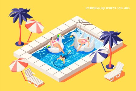 People relaxing with swimming aid in pool isometric composition on yellow background 3d vector illustration