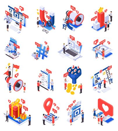 Effective modern marketing via social media groups isometric set with attracting followers promoting products symbols vector illustration