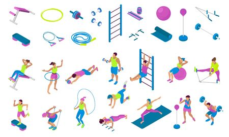 Isometric icons set with different fitness equipment and people using it during workout 3d isolated vector illustration Vettoriali
