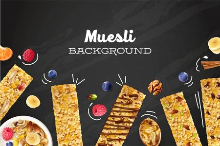Muesli colored background with realistic images of oat cereals and bars with blueberries and raspberries on chalkboard vector illustration