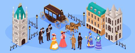 Victorian era horizontal poster with residents of old town and carriage pulled by two horses isometric vector illustration Illustration