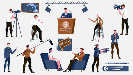 Set with isolated tv news flat icons with light equipment cameras and human characters of workers vector illustration