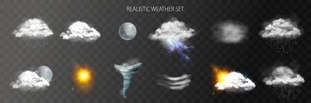 Weather transparent set with rain wind and tornado symbols realistic isolated vector illustration