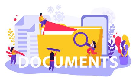 Employment service and employment documents flat composition of text and doodle people with files and folders vector illustration