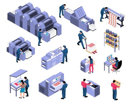 Polygraphy isometric set of professional equipment for various types of printing with workers servicing machines vector illustration Vektoros illusztráció