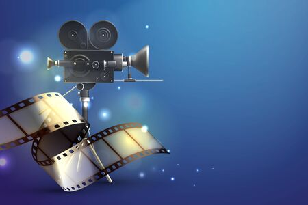 Film stripes realistic composition with abstract gradient background blurry lights and classic filming camera with reel vector illustration