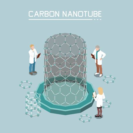 Nanotechnology isometric composition with carbon nano-tubes growth from graphene nanoparticles innovative products nanomaterials background vector illustration