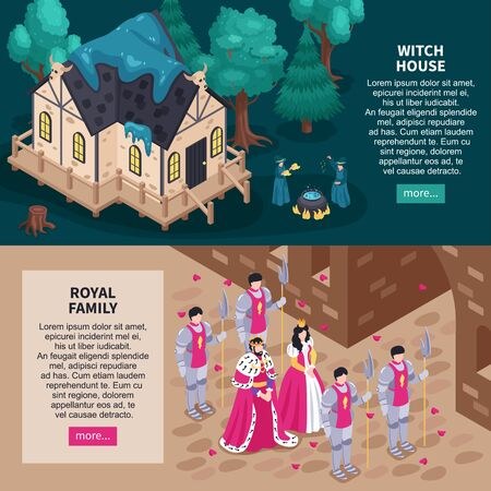 Fairy tale website 2 isometric horizontal web banners with magical witch house and royal family vector illustration Иллюстрация