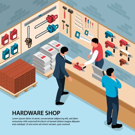 People buying building tools at hardware shop 3d isometric vector illustration