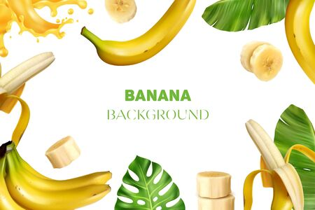 Realistic banana frame background composition with images of bananas fresh leaves slices and juice with text vector illustration