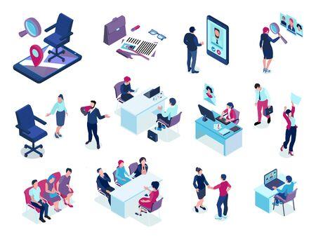 Recruitment agency isometric set with online job vacancies screening applicants choosing candidates interview selection events vector illustration Vector Illustratie