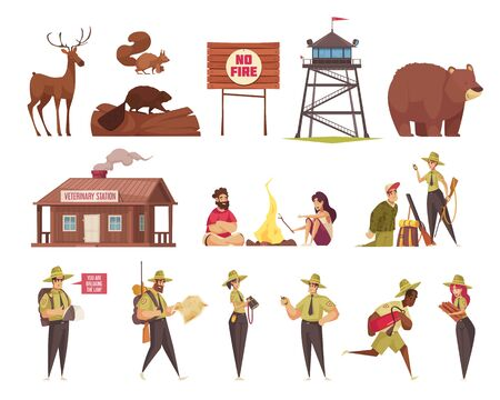 Cartoon icons set with male and female forest rangers wild animals hunters veterinary station building isolated vector illustration