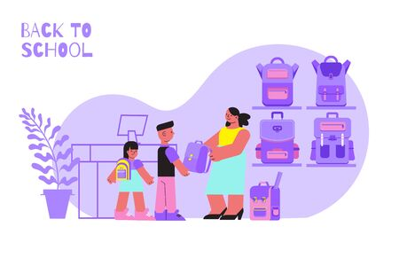 Two pupils and their mum choosing school backpack at shop flat vector illustration