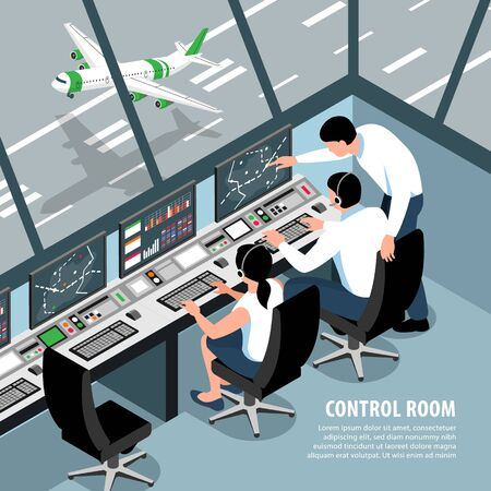 Isometric airport traffic control team background with indoor scenery aircraft control room operators and editable text vector illustration