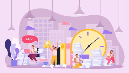 Flat composition with tired people working all day with papers vector illustration