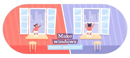 Making window safe for kids flat oval composition with opened glass panels dangerous and childproof vector illustration 向量圖像