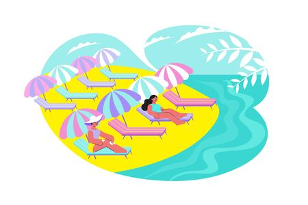 Sunshade beach flat composition with outdoor scenery of sandy shore with people under sun protection umbrellas vector illustration