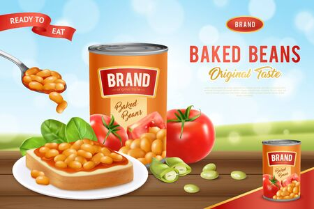 White canned beans baked in tomato sauce ready to eat realistic advertising poster nature background vector illustration
