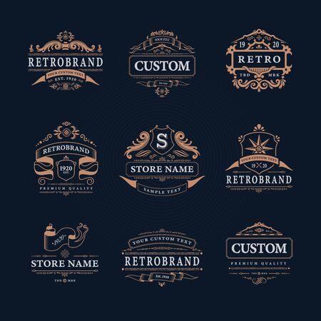 Retro vintage design emblems  collection Иллюстрация