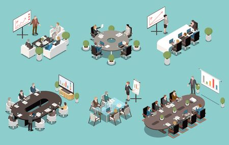 Meeting white board and lcd screen presentations isometric set with oval rectangle round boardroom tables vector illustration