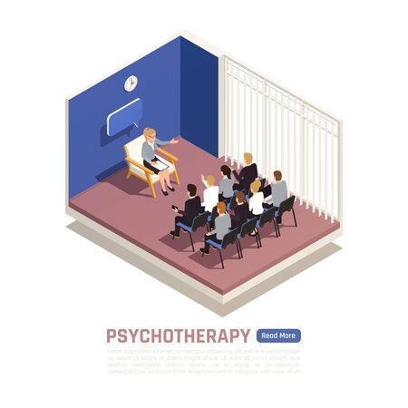 Group psychotherapy counseling session conducted by professional licensed psychologist isometric interior image web page design vector illustration