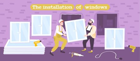 Window panes repair replacement renovation insulation installation flat composition with two handymen carrying glass panel vector illustration  向量圖像