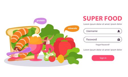 Healthy and super food flat background with form for entering username and password with doodle images vector illustration