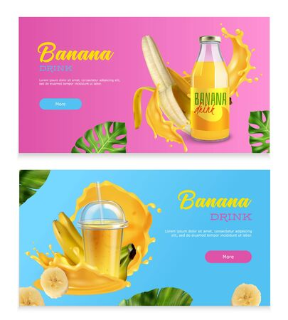 Banana drink horizontal banners with realistic fresh fruits splashes and juice in bottle isolated vector illustration