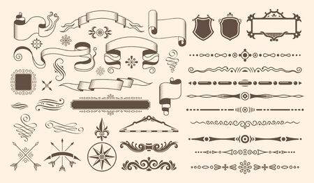 Retro vintage design set with isolated elements and art decoration pieces for ancient books and maps vector illustration Иллюстрация