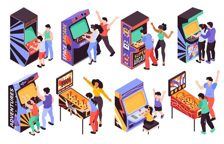 Adult teen and kid persons playing on retro arcade game machines isometric set isolated vector illustration