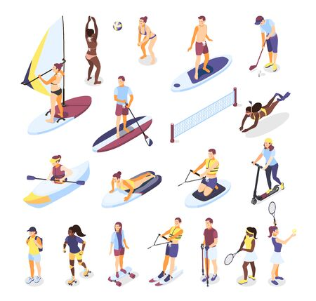 Summer sports and outdoor activities isometric icons set of people riding on surfboard  sup board kayak scooter rollers isolated vector illustration