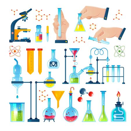 Chemistry laboratory icon set with chemicals test tubes experiments molecules and formulas
