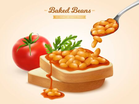 Backed beans in tomato sauce on bread slices realistic advertising composition with arugula sandwich isometric vector illustration