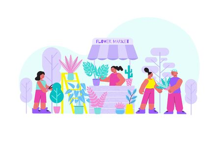 Flower market flat composition with outdoor scenery trees and stall with woman selling flowers and people vector illustration