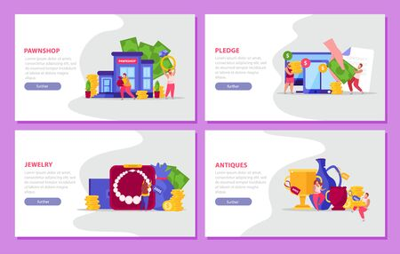 Pawnshop flat 4x1 set of four horizontal banners with items of value text and clickable buttons vector illustration 向量圖像