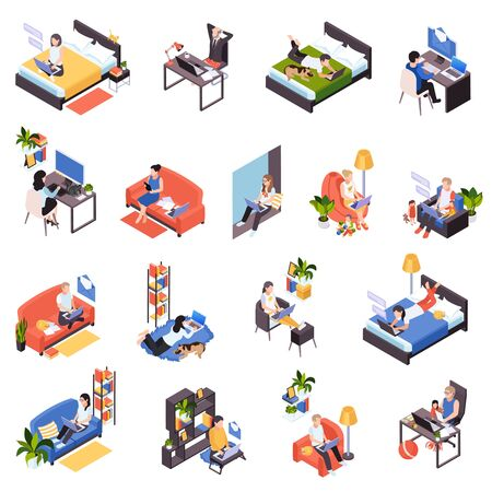 Work from home isometric icons set with distant teamwork remote time management messaging from bed vector illustration Illustration