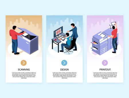 Printing industry vertical banners with design scanning printout isometric compositions isolated vector illustration Иллюстрация