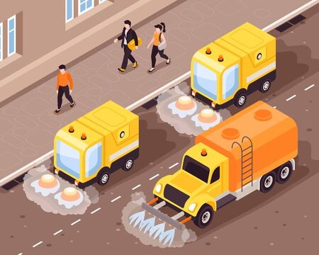 Isometric cleaning road composition with outdoor street scenery people and moving vehicles cleaning the asphalt covering vector illustration