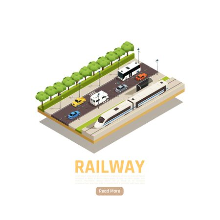 Train railway station isometric background with urban scenery cars on motorway with railway and city train vector illustration Stockfoto - 147199772