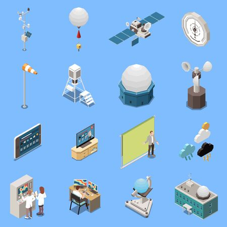 Weather forecast isometric icons set with meteorology symbols isolated vector illustration