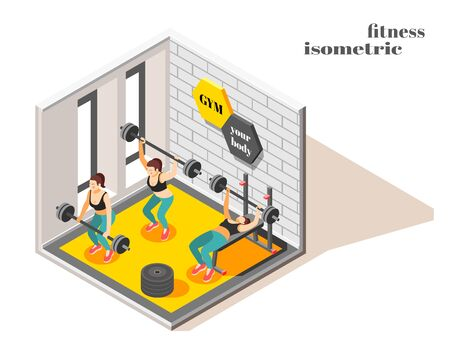 Gym center interior isometric composition with powerful full body workout weight lifting exercises for women vector illustration Иллюстрация