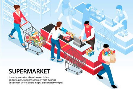 Supermarket horizontal poster with buyers driving pushcarts with groceries to cash desk vector illustration