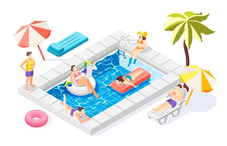 People relaxing near pool with swimming equipment 3d isometric vector illustration