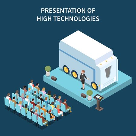 Modern conference hall high technologies presentation isometric composition with big automotive smart device on podium vector illustration