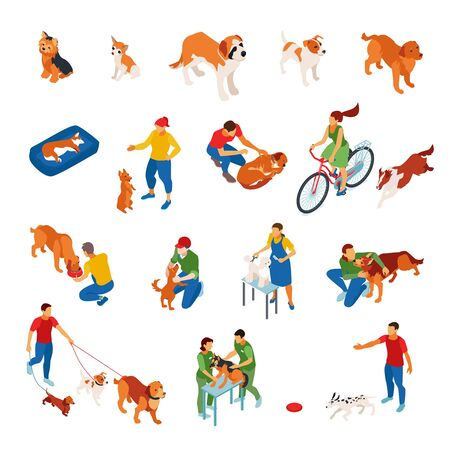 Isometric icons set with dogs and sitters looking after pets 3d isolated vector illustration